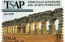 POSTE ITALIANE 45^ emissione  del 19 Settembre  2019 di un francobollo celebrativo del Tribunale Superiore delle Acque Pubbliche, nel centenario dell'istituzione.