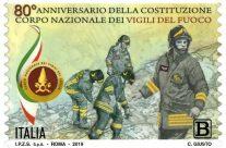 POSTE ITALIANE 64^ emissione  del 21 novembre  2019 di un francobollo dedicato al Corpo Nazionale dei Vigili del Fuoco nell' 80° anniversario della costituzione