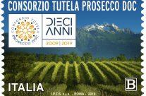POSTE ITALIANE 62^ emissione  del 19 novembre  2019 di un francobollo dedicato al Prosecco, nel 10° anniversario del riconoscimento DOC