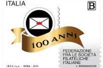 POSTE ITALIANE 65^ emissione  del 22 novembre  2019 di un francobollo celebrativo della Federazione fra le Società Filateliche Italiane, nel centenario della costituzione