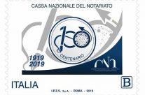 POSTE ITALIANE 58^ emissione  del 09 novembre  2019 di un francobollo celebrativo della Cassa Nazionale del Notariato, nel centenario della costituzione