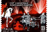 POSTE ITALIANE 6^ emissione  del 20 Febbraio 2020 di un francobollo dedicato al Carnevale di Pont- Saint-Martin, nella 110° edizione