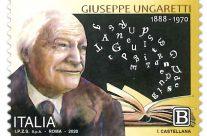 POSTE ITALIANE 13^ emissione  del 01 giugno 2020 di un francobollo dedicato a Giuseppe Ungaretti, nel 50° anniversario della scomparsa