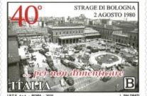 """POSTE ITALIANE 25^ emissione  del 02 Agosto 2020 di un francobollo  appartenente alla serie tematica """"il Senso civico"""" dedicato alla strage di Bologna, nel 40° anniversario"""