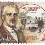 POSTE ITALIANE 84^  EMISSIONE  DEL 25  NOVEMBRE 2020  DI UN FRANCOBOLLO commemorativo di Amadeo Peter Giannini, nel 150° anniversario della nascita