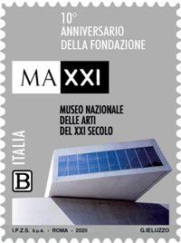 POSTE ITALIANE 83^  EMISSIONE  DEL 24  NOVEMBRE 2020  DI UN FRANCOBOLLO dedicato al MAXXI, Museo nazionale delle arti del XXI secolo, nel 10°anniversario della fondazione