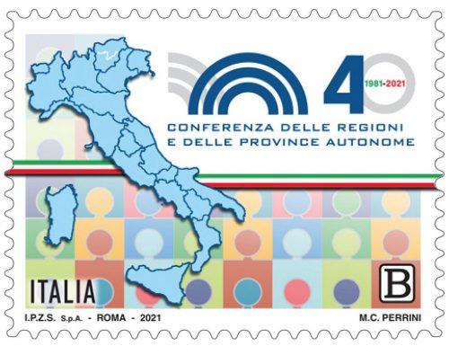 POSTE ITALIANE 1^ EMISSIONE DEL 15 gennaio 2021  di un francobollo celebrativo della Conferenza delle Regioni e delle Province autonome, nel 40° anniversario della fondazione