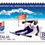 POSTE ITALIANE 4^ EMISSIONE DEL 07 FEBBRAIO 2021  DI UN FRANCOBOLLO dedicato ai Campionati del mondo di sci alpino a Cortina d'Ampezzo