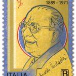 M.I.S.E. 28^ EMISSIONE DI UN FRANCOBOLLO commemorativo di Arnoldo Mondadori, nel 50° anniversario della scomparsa