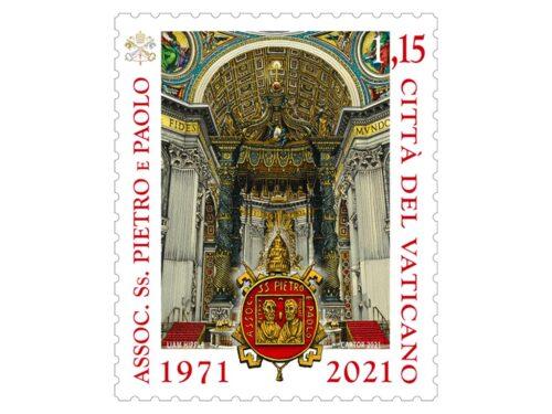 POSTE VATICANE 10^ EMISSIONE DEL 25 MAGGIO 2021, di un francobollo dedicato al 50° ANNIVERSARIO DELL'ASSOCIAZIONE DEI SS PIETRO E PAOLO