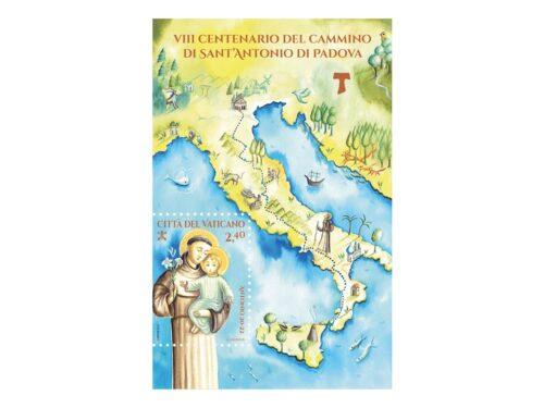 POSTE VATICANE 8^ EMISSIONE DEL 25 MAGGIO 2021 dedicato al VIII CENTENARIO DEL CAMMINO DI SANT'ANTONIO DI PADOVA