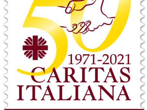 """M.I.S.E. 43^ EMISSIONE di n.1 francobollo appartenente alla serie tematica """" il Senso Civico """" dedicato alla CARITAS ITALIANA, nel 50° anniversario della fondazione."""