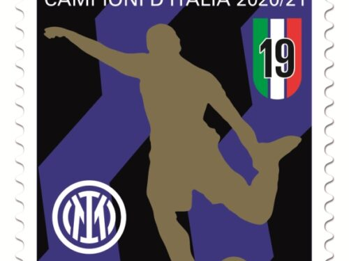 """M.I.S.E. 52^ EMISSIONE di n.1 francobollo ordinario appartenente alla serie tematica """"lo Sport"""" dedicato all'Inter, squadra vincitrice del Campionato di Calcio di Serie A."""