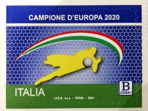 """M.I.S.E. 53^ EMISSIONE di n.1 francobollo ordinario appartenente alla serie tematica """"lo Sport"""" dedicato ai CAMPIONI D'EUROPA di Calcio 2020"""