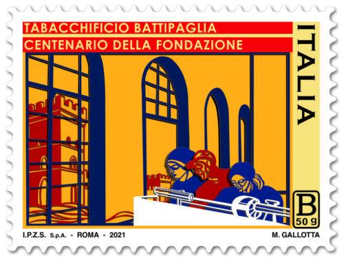 M.I.S.E. 60^ EMISSIONE di un francobollo  ordinario dedicato al Tabacchificio di Battipaglia, nel centenario della fondazione