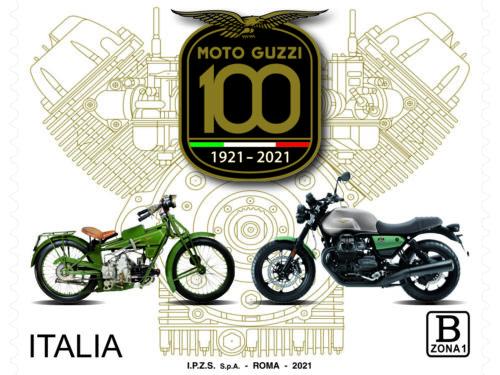 M.I.S.E. 63^ EMISSIONE di un francobollo  ordinario dedicato alla Moto Guzzi nel centenario della fondazione