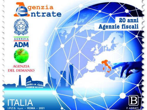M.I.S.E. 74^ EMISSIONE di un francobollo celebrativo delle Agenzie Fiscali, nel 20° anniversario della istituzione